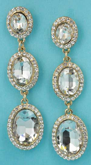 """Clear/Gold Multiple Linked Oval Stone 2"""" Post Earring"""