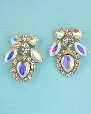 Aurora Borealis/Clear Multiple Round/Pear Stone Post Earring