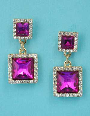 """Fuchsia/Clear Gold Two Linked Stone Square Shape 1.5"""" Post Earring"""