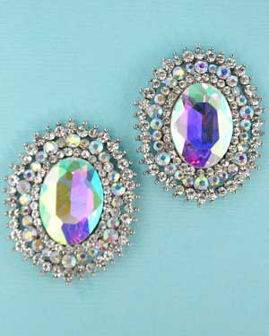 Aurora Borealis/Clear Silver Big Middle Oval Stone Post Earring