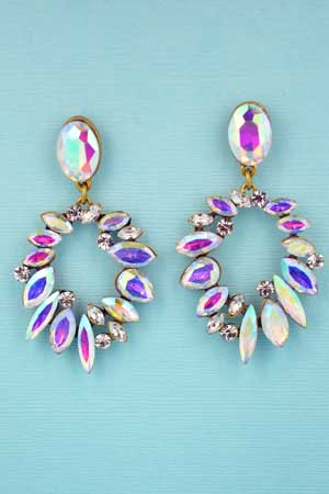 AB Clear Antique Gold Oval/Round/Marquise Stone Circle Earring