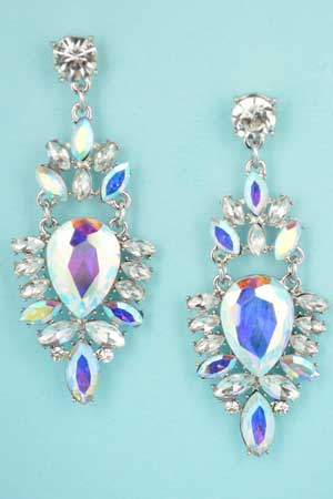 """Aurora Borealis/Clear Silver Framed Marquise Stone 2"""" Post Earring"""