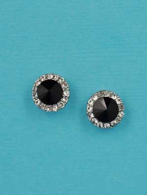 Jet/Clear Silver Small Round Stone Post Earring