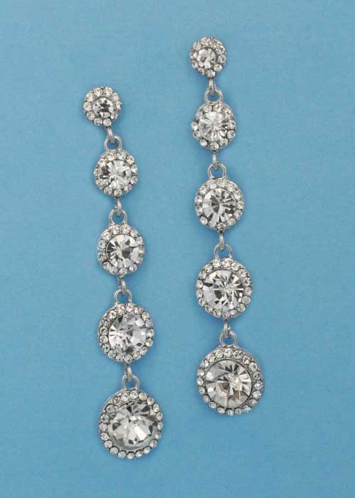 "Clear/Silver Five Linked Round Stone 3"" Post Earring"