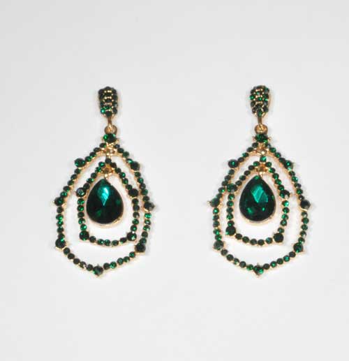 Emerald/Gold Web Earring Small Round Stone