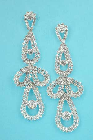 "Clear/Silver Multiple Drop Shape Round Stone 3"" Earring"