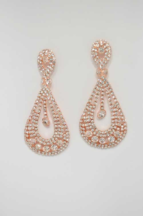 Clear/Rose Gold Dangle Row Small/Medium Round Stone Earring