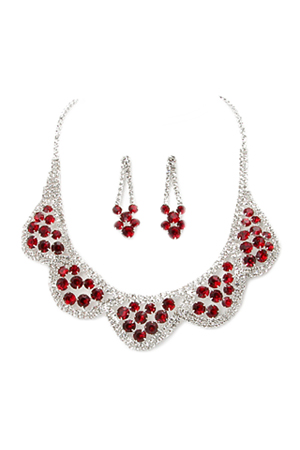 Siam Red/Clear Silver 5 Scallop Cluster Set