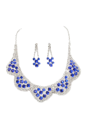 Sapphire Blue/Clear Silver 5 Scallop Cluster Set