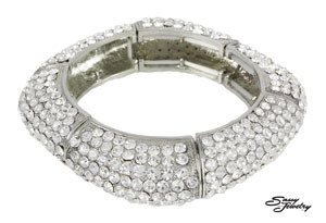 Clear Silver Square Pave Stretchy Bracelet