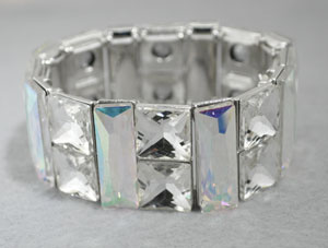 AB/Silver Large Princess Cut/Bar Stone Stretch Bracelet