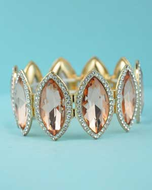 Light Peach Clear Gold Marquise Round Stone Stretch Bracelet