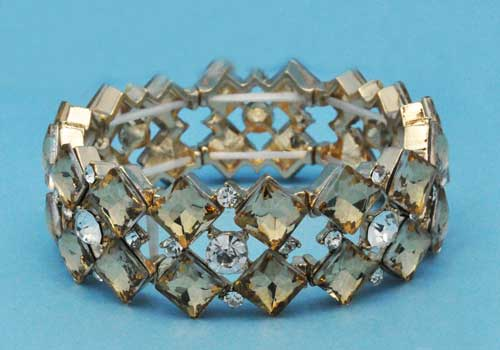 Light Colorado/Clear Gold Two Rows Star Shape Stretch Bracelet