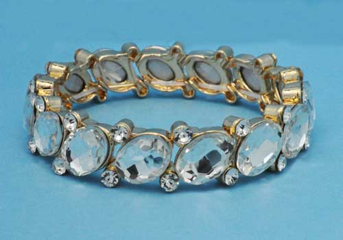 Clear/Gold One Row Marquise Stone Stretch Bracelet