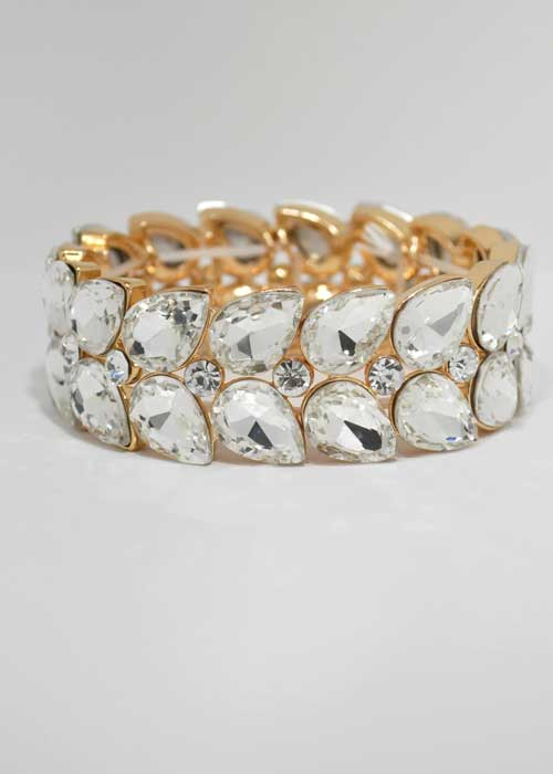Clear/Gold Two Rows Pearshape Stretch Bracelet