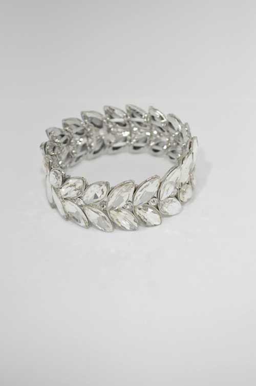 Clear/Silver Two Rows Marquise Stretch Bracelet