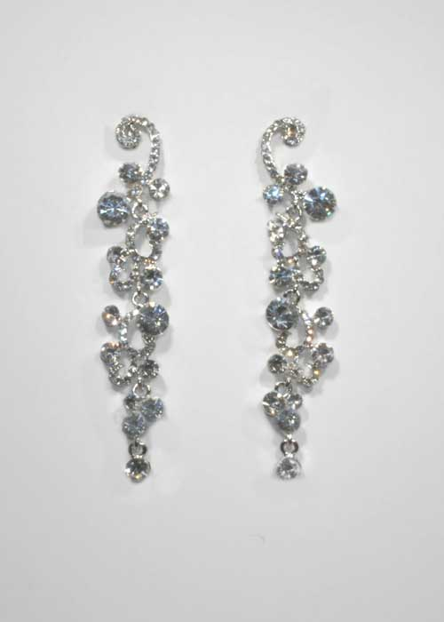 Clear/Silver Branch Shape Small/Medium Round Stone Earring