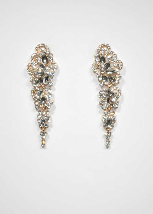 "Clear/Gold Marquise/Round Stone 3"" Post Earring"