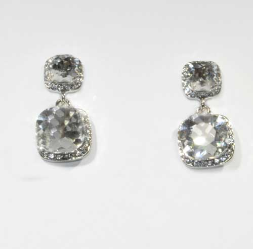 """Clear/Silver Two Linked Square Stone 1.5"""" Post Earring"""