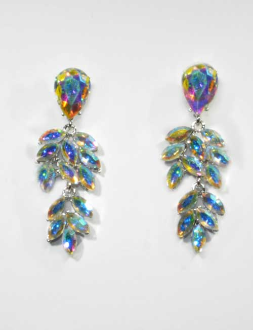 Aurora Borealis/Silver Connected Leaves Post Earring