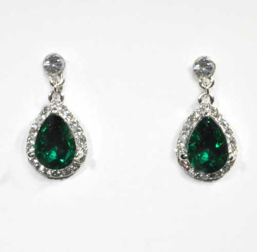 Emerald/Clear Silver Top Round Connected Teardrop Post Earring