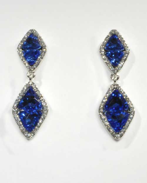 Sapphire/Clear Silver Two Linked Diamond Shape Post Earring