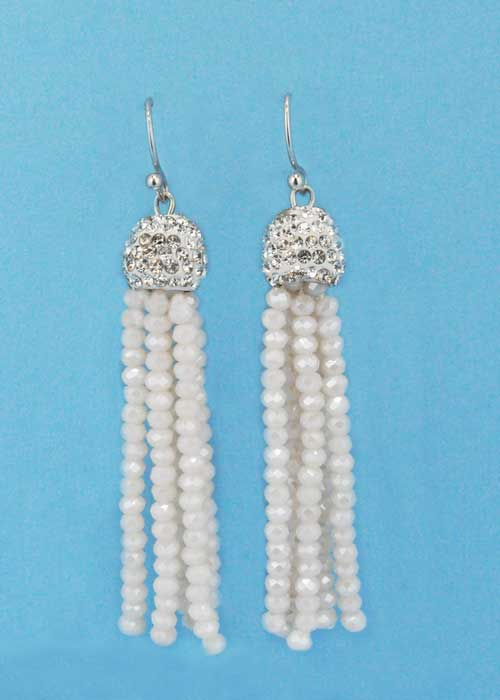"White/Clear Top Ball Round Stone Fish 1.5"" Post Earring"