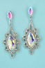 AB Clear Silver Framed Marquise Stone Earring