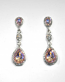 Vitral Light/Clear Silver Three Linked Stone Post Earring