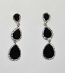 Jet/Clear Silver Three Linked Pearshape Post Earring