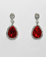 Siam Light/Clear Silver Two Linked Pearshape Post Earring