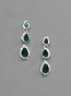 Emerald/Clear Silver Three Linked Pearshape Post Earring