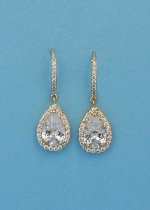 "Cubic Zirconia/Gold Top Stick Bottom Dancing Pearshape 1.5"" Post Earring"