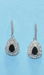"Cubic Zirconia/Jet Silver Top Thin Shape Bottom Pear 1"" Post Earring"