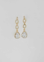 "Cubic Zirconia/Gold Linked Pear Shape 1.5"" Post Earring"