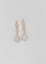 "Cubic Zirconia/Rose Gold Linked Pear Shape 1.5"" Post Earring"