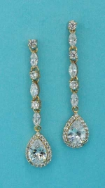 "Cubic Zirconia/Gold Linked Stone Dangling 2"" Post Earring"