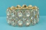 Light Colorado/Clear Gold Two Row Oval Stone Stretch Bracelet