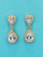 """Cubic Zirconia/Gold Two Pear Linked Stone 1"""" Post Earring"""