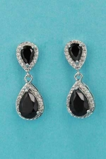 "Cubic Zirconia/Jet Two Linked Pear Stone 1"" Post Earring"
