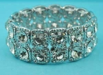 Clear/Silver Two Row Square Middle Round Stone Stretch Bracelet