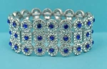 Sapphire/Clear Three Row Round/Square Stretch Bracelet