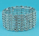 Aurora Borealis/Clear Silver Three Row Round Stone Square Shape Stretch Bracelet