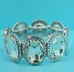 Clear Silver Big Oval Stone Stretch Bracelet