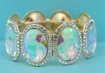 Aurora Borealis/Clear Gold One Row Big Oval Stretch Bracelet
