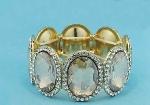 Light Colorado/Clear Gold One Row Big Oval Shape Bracelet