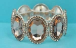 Light Colorado/One Row Big Oval Stone Stretch Bracelet