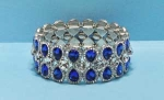 Sapphire/Clear Silver Three Row Pear/Round Stone Bracelet