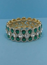 Emerald/Clear Gold Two Rows Center Middle Round Stone Pear Stone Bracelet