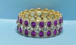 Fuchsia/Clear Gold Three Row Pear/Round Stone Bracelet